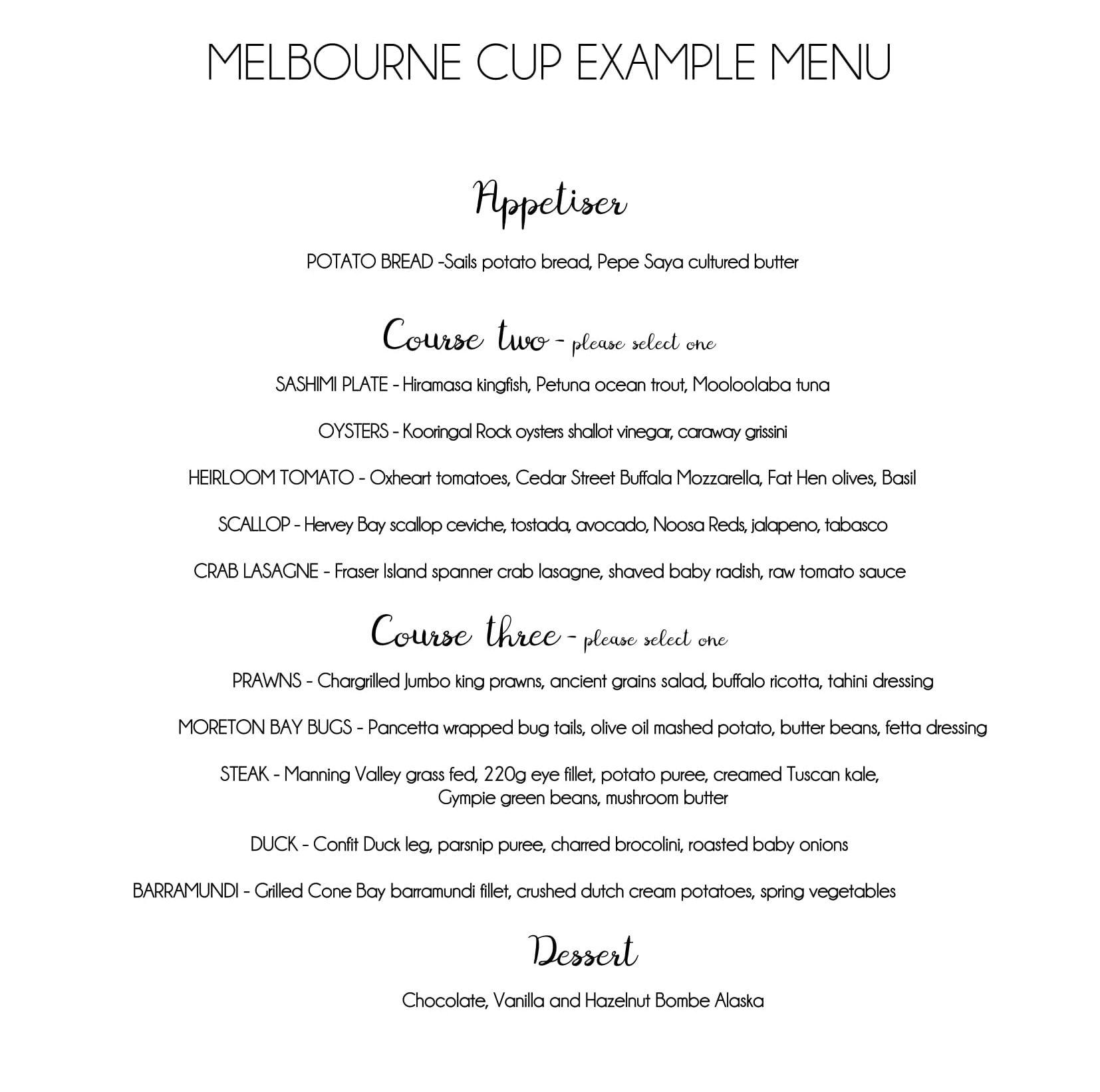 MELBOURNE CUP EXAMPLE MENU 2017-1