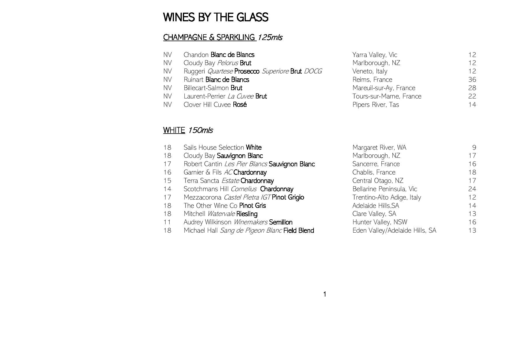 Sails Wine List 2019 Page 001