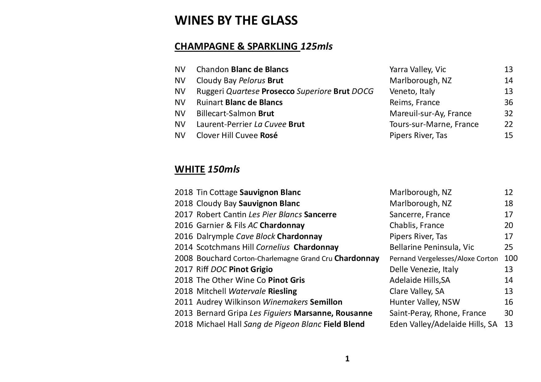 Sails Wine List 2019 Page 001