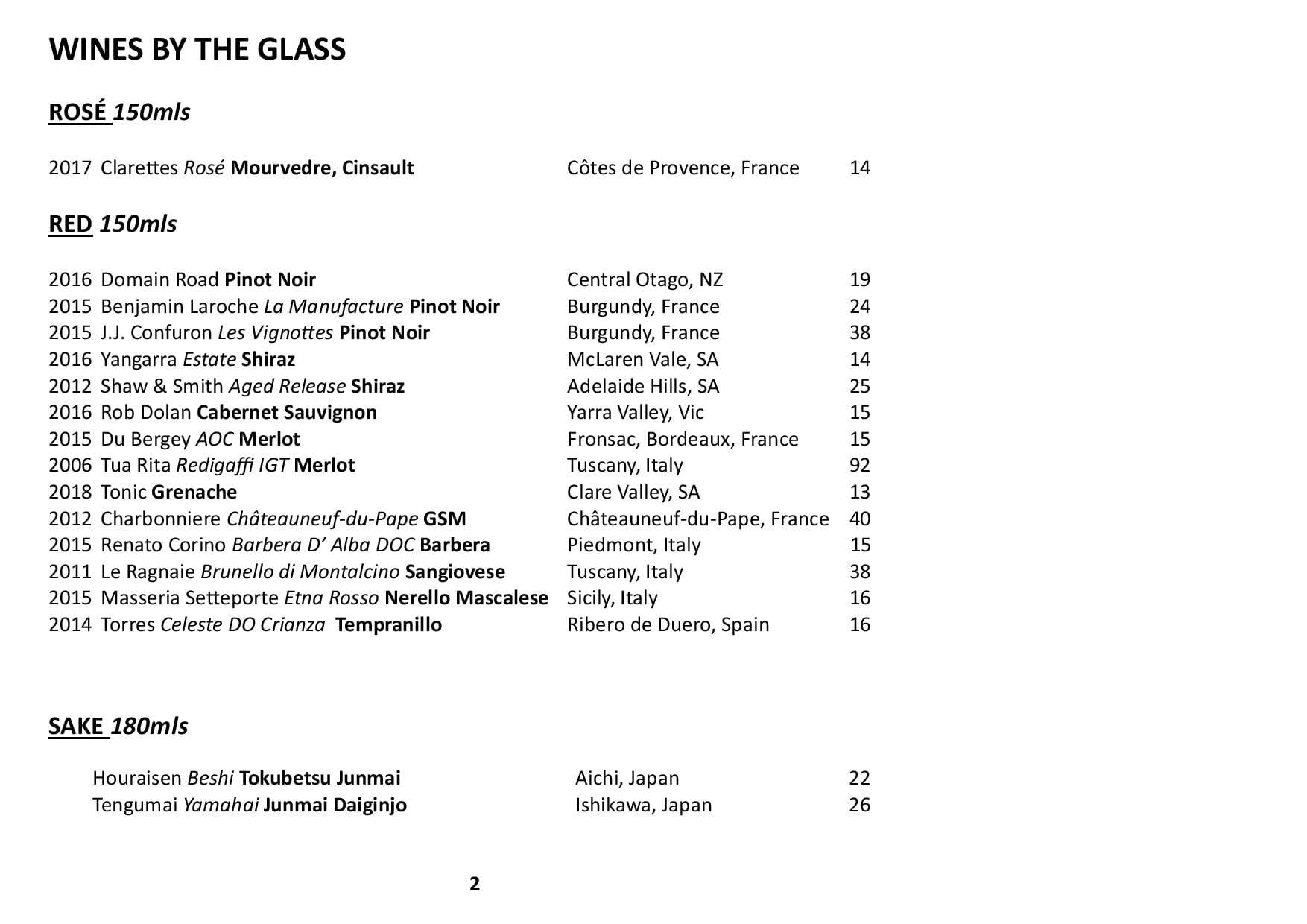 Sails Wine List 2019 Page 002