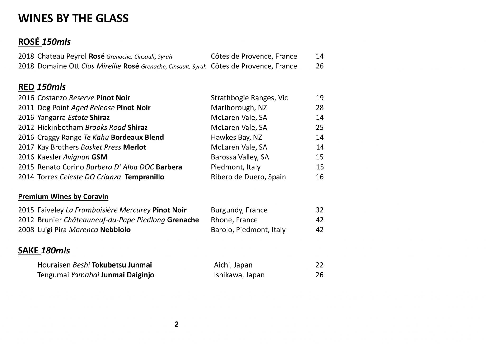 Sails Wine List 2019 Page 002
