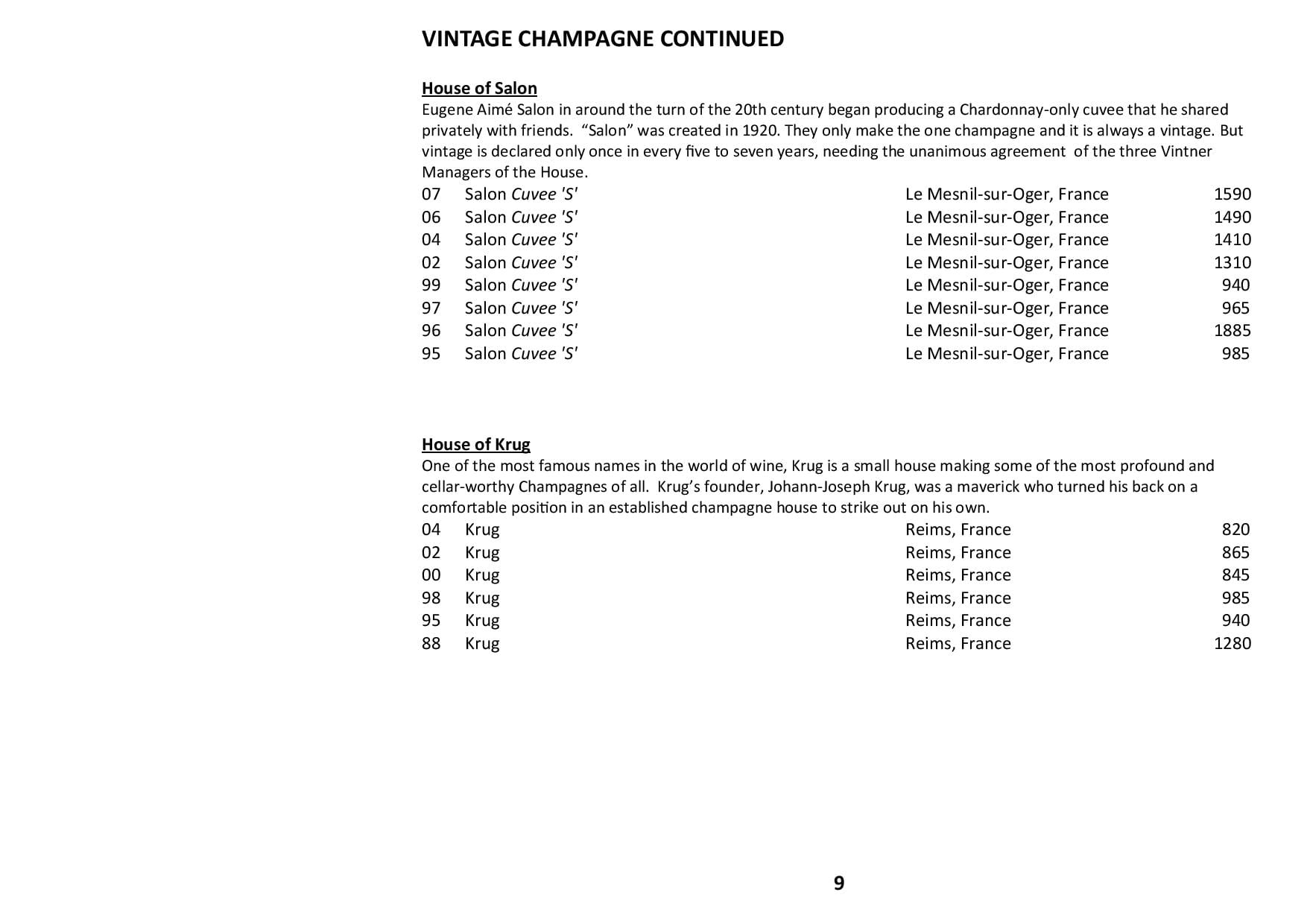 Sails Wine List 2020 Page 009